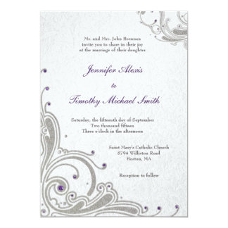 El brillo de plata remolina las joyas púrpuras que invitación 12,7 x 17,8 cm