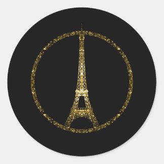 El brillo del oro de la torre Eiffel chispea en Pegatina Redonda