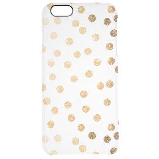 El brillo del oro puntea la caja clara del funda clearly™ deflector para iPhone 6 plus de unc