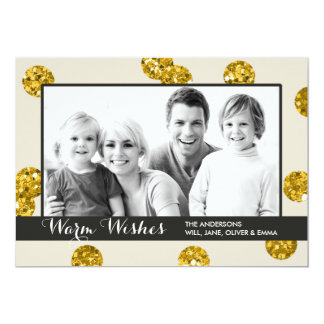 """El brillo del oro puntea la tarjeta de la foto del invitación 5"""" x 7"""""""