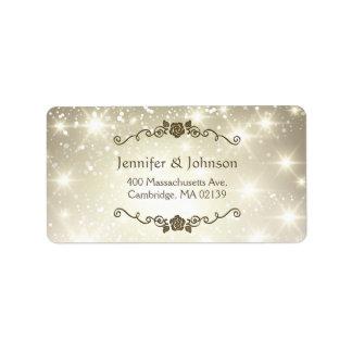 El brillo elegante chispea boda etiquetas de dirección