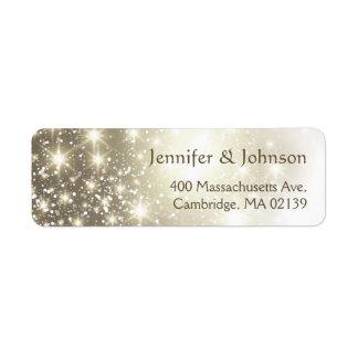 El brillo elegante chispea boda etiquetas de remite