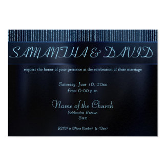 El brillo elegante encadena invitaciones azules invitación 12,7 x 17,8 cm