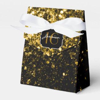 El brillo hermoso del oro chispea caja del favor cajas para regalos