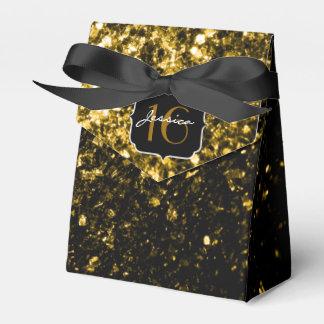 El brillo hermoso del oro chispea caja del favor d paquetes de regalo
