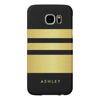 El brillo negro del oro de Eelgant raya el modelo Fundas Samsung Galaxy S6