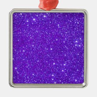 El brillo púrpura de la chispa crea sus los adorno cuadrado plateado