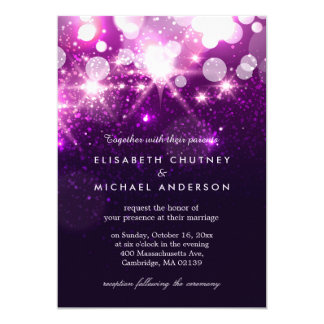 El brillo púrpura de moda chispea boda elegante invitación 12,7 x 17,8 cm