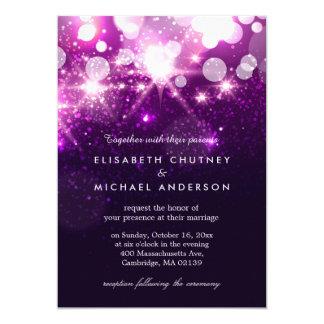 """El brillo púrpura de moda chispea boda elegante invitación 5"""" x 7"""""""