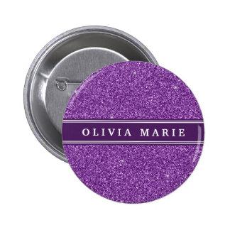 El brillo púrpura (falso) personalizó nombre pin