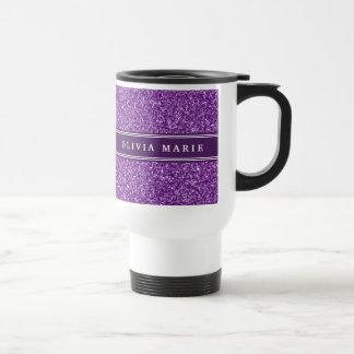 El brillo púrpura (falso) personalizó nombre taza térmica