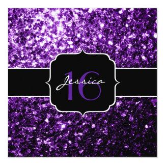 El brillo púrpura hermoso chispea cuadrado del invitación 13,3 cm x 13,3cm