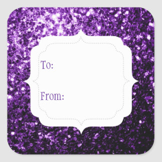 El brillo púrpura hermoso chispea etiqueta del