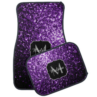 El brillo púrpura hermoso chispea monograma alfombrilla de coche