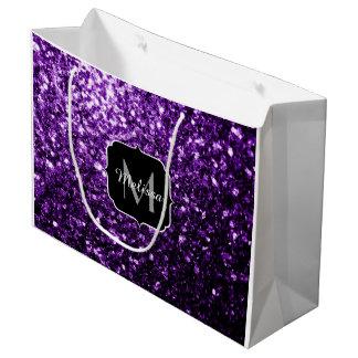 El brillo púrpura hermoso chispea monograma bolsa de regalo grande
