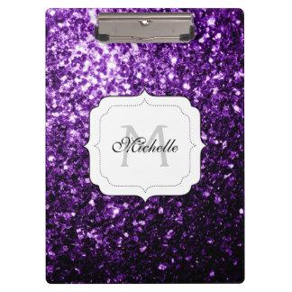 El brillo púrpura hermoso chispea monograma