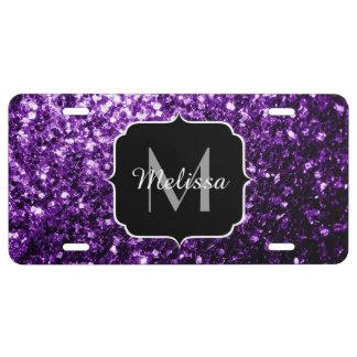 El brillo púrpura hermoso chispea monograma placa de matrícula