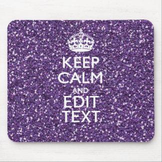 El brillo púrpura personaliza GUARDA CALMA Y su Tapetes De Ratones