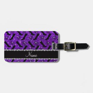 El brillo púrpura personalizado del añil conocido etiqueta de maleta