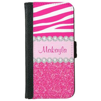 El brillo rosado chispea caja de la cartera del funda cartera para iPhone 6