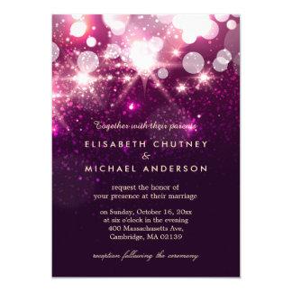 El brillo rosado de moda chispea boda elegante invitación 12,7 x 17,8 cm