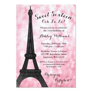 """El brillo rosado de París Bokeh enciende el dulce Invitación 5"""" X 7"""""""