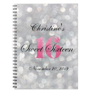 El brillo rosado enciende el libro de visitas del spiral notebook