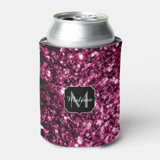 El brillo rosado hermoso chispea monograma enfriador de latas