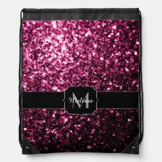 El brillo rosado hermoso chispea monograma mochila