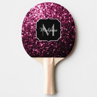 El brillo rosado hermoso chispea monograma pala de tenis de mesa
