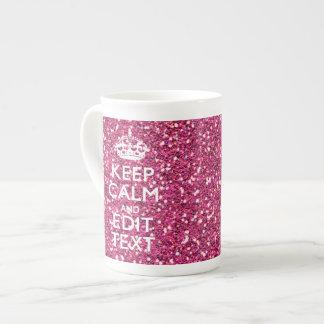 El brillo rosado personalizado GUARDA CALMA Y su Tazas De China