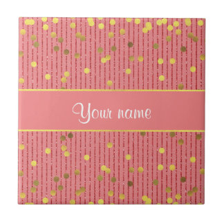 El brillo rosado raya confeti del oro azulejo cuadrado pequeño