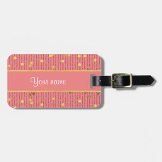 El brillo rosado raya confeti del oro etiquetas maleta