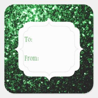 El brillo verde hermoso chispea etiqueta del