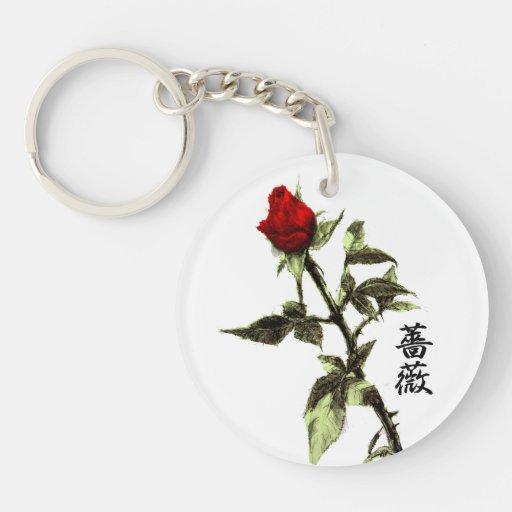 El brote del rosa rojo dibujó a lápiz, japonés del llavero redondo acrílico a una cara