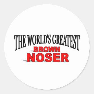 El Brown más grande Noser del mundo Pegatina Redonda