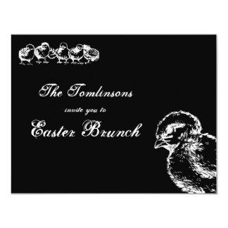"""El brunch de Pascua de los polluelos del vintage Invitación 4.25"""" X 5.5"""""""