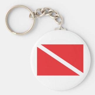 El buceador abajo señala por medio de una bandera llavero redondo tipo pin