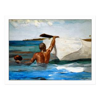 El buceador de la esponja de Winslow Homer Tarjetas Postales