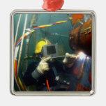 El buceador de la marina de guerra de los E.E.U.U. Adorno Navideño Cuadrado De Metal