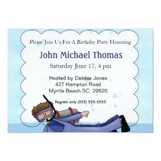 El buceador embroma la invitación del cumpleaños invitación 12,7 x 17,8 cm