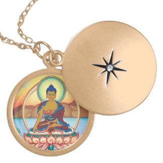 El Buda - collar redondo del locket - final del or