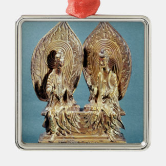 El Buddhas Prabhutaratna y Sakyamuni Adorno Cuadrado Plateado