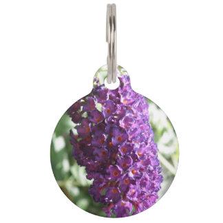 El Buddleia púrpura hermoso florece la placa de id Placas De Mascota