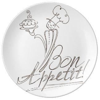 ¡El buen cocinero dice el Bon Appetit! Platos De Cerámica