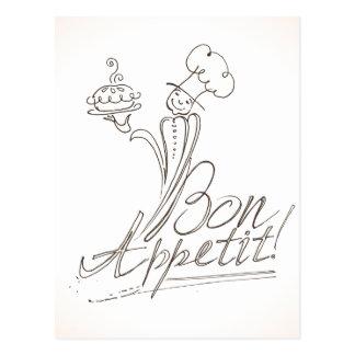 ¡El buen cocinero dice el Bon Appetit! Postal