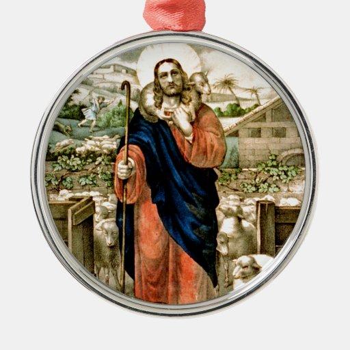 El buen pastor adorno navideño redondo de metal