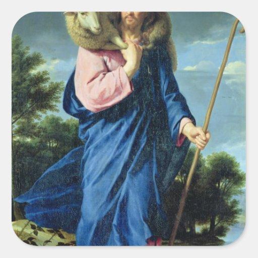 El buen pastor, c.1650-60 calcomanías cuadradas personalizadas