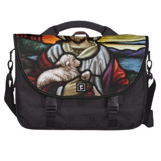 El buen pastor; Jesús en el vitral Bolsa Para Ordenador