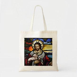 El buen pastor; Jesús en el vitral Bolsa Tela Barata